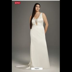 White VERA WANG Satin w/ Encrusted Bandeau Gown 14